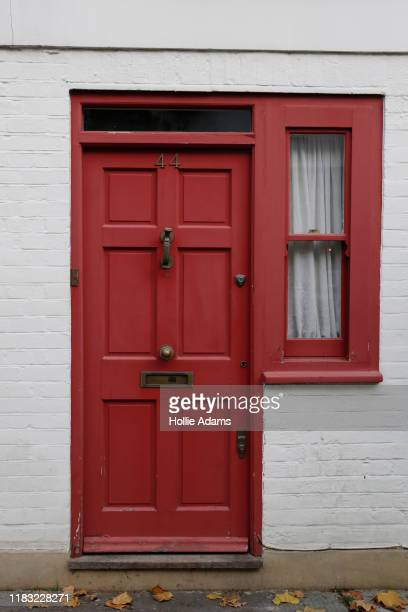 A general view of the doorway to Jeffrey Epstein Associate Ghislaine Maxwell's Belgravia property on November 18 2019 in London England The property...