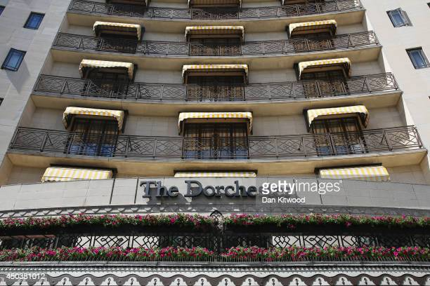 A general view of the Dorchester Hotel on June 10 2014 in London England A gang of six men on mopeds armed with sledgehammers smashed display...