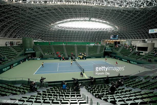 General view of the doubles match between Ben McLachlan and Yasutaka Uchiyama of Japan and Gonzalo Escobar and Diego Hidalgo of Ecuador on day two of...