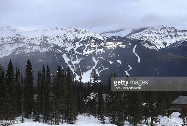 A general view of the downhill ski slopes from the roof of the Chateau Lake Louise Fairmont during the 7th Annual Lake Louise Pond Hockey Classic on...