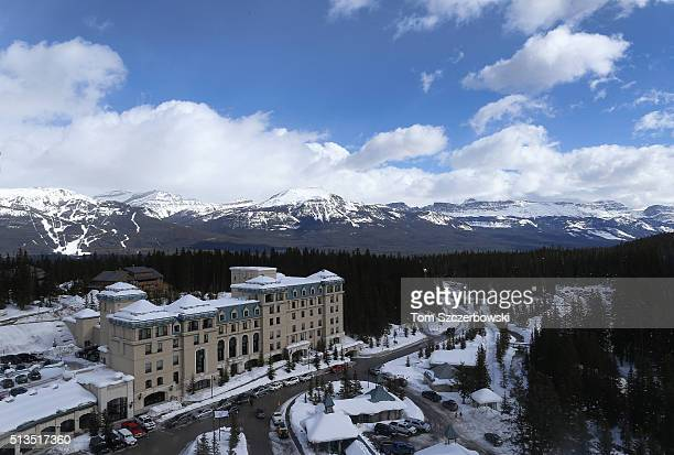 A general view of the downhill ski slopes in Banff National Park from the roof of the Chateau Lake Louise Fairmont during the 7th Annual Lake Louise...