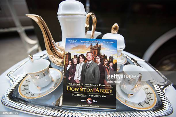 A general view of the 'Downton Abbey' tea and biscuit food truck outside the New York Times Center on December 12 2013 in New York City Downton Abbey...