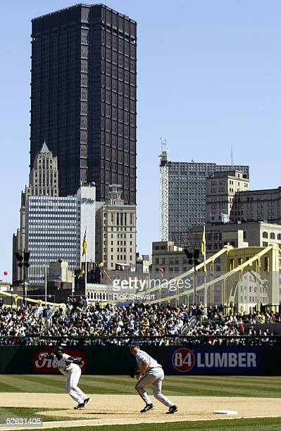 General view of the downtown skyline beyond the outfield seats during the game between the Milwaukee Brewers and the Pittsburgh Pirates on April 4...