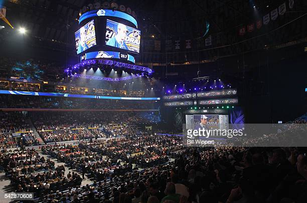 General view of the draft area after the first overall pick by the Toronto Maple Leafs is seen during round one of the 2016 NHL Draft at First...