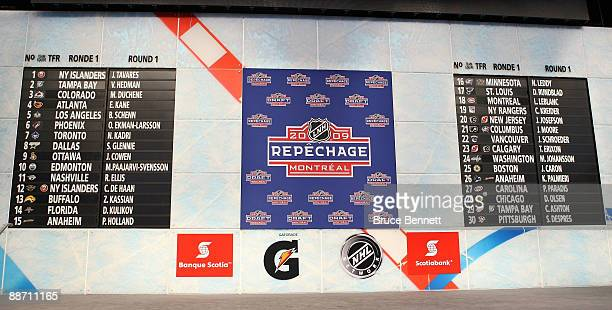 A general view of the draft board after the first round of the 2009 NHL Entry Draft was completes at the Bell Centre on June 26 2009 in Montreal...
