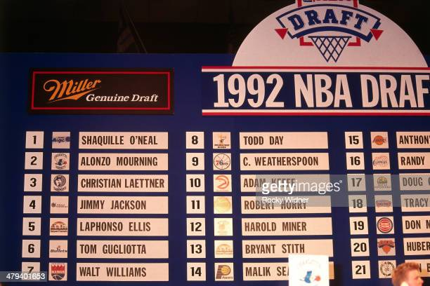 A general view of the Draft Board during the 1992 NBA Draft as part on June 24 1992 at the Veterans Memorial Coliseum in Portland Oregon NOTE TO USER...