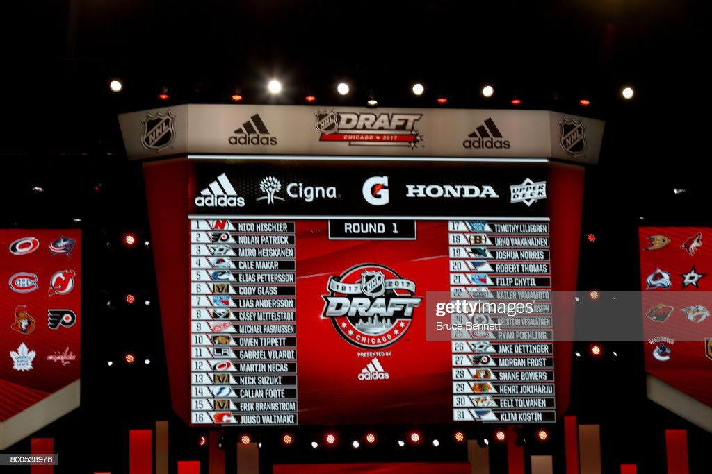A general view of the draft board during the 2017 NHL Draft at the United Center on June 24, 2017 in Chicago, Illinois.