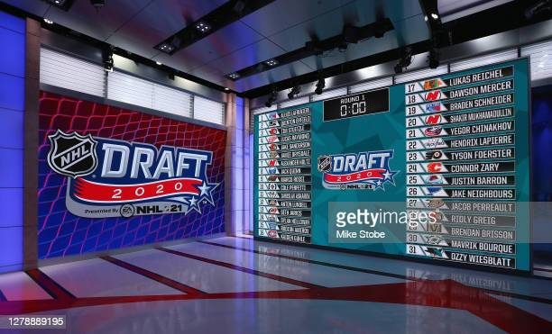 General view of the draft board following the first round of the 2020 National Hockey League Draft at the NHL Network Studio on October 06, 2020 in...
