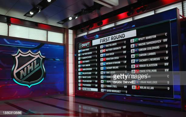 General view of the draft board from the first round of the 2021 NHL Entry Draft at the NHL Network studios on July 23, 2021 in Secaucus, New Jersey.