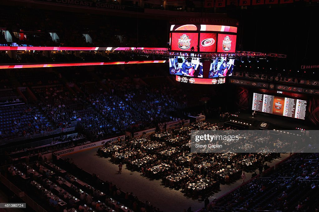 A general view of the draft floor as the Carolina Hurricanes make their pick during the 2014 NHL Entry Draft at Wells Fargo Center on June 28, 2014 in Philadelphia, Pennsylvania.