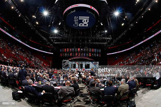 General view of the draft floor during the second day of the 2009 NHL Entry Draft at the Bell Centre on June 27, 2009 in Montreal, Quebec, Canada.