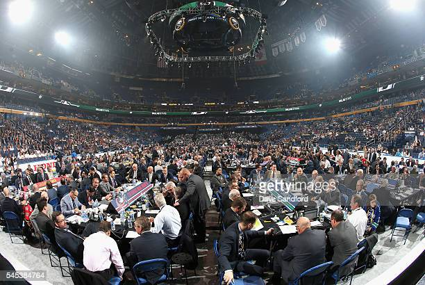 A general view of the draft floor from the stage during round one of the 2016 NHL Draft at First Niagara Center on June 24 2016 in Buffalo New York