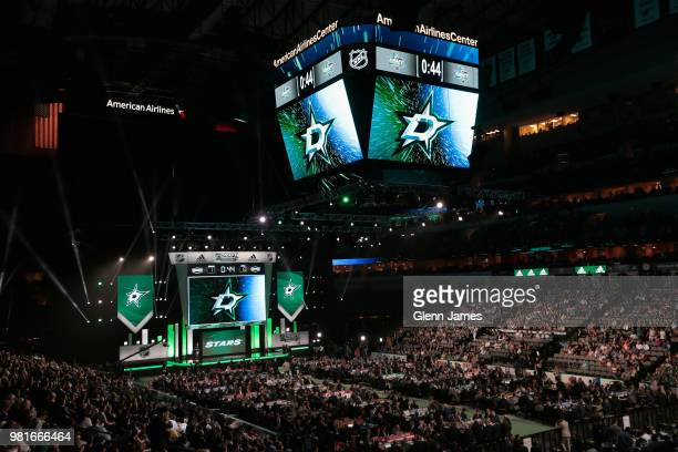 A general view of the draft floor is seen during the first round of the 2018 NHL Draft at American Airlines Center on June 22 2018 in Dallas Texas