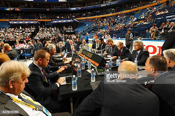 A general view of the draft table for the Anaheim Ducks during the 2016 NHL Draft on June 25 2016 in Buffalo New York