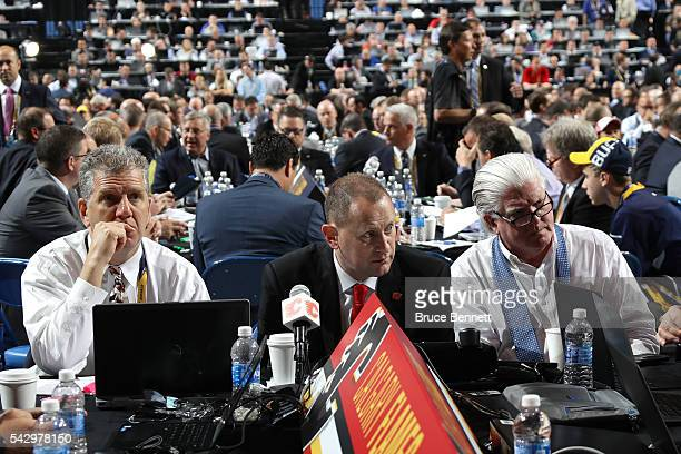 A general view of the draft table for the Calgary Flames during the 2016 NHL Draft on June 25 2016 in Buffalo New York