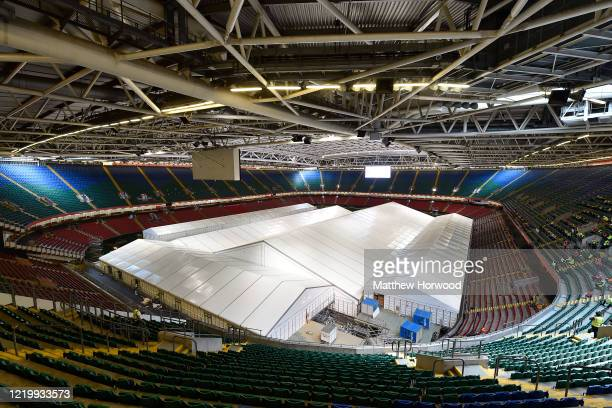 A general view of the Dragon's Heart hospital within the Principality Stadium on April 20 2020 in Cardiff Wales The British government has extended...