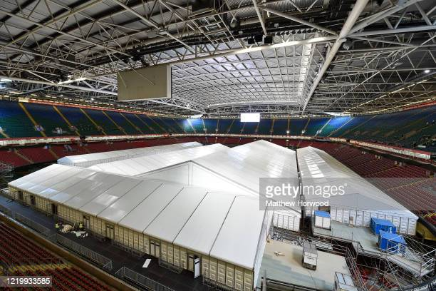 General view of the Dragon's Heart hospital within the Principality Stadium on April 20, 2020 in Cardiff, Wales. The British government has extended...