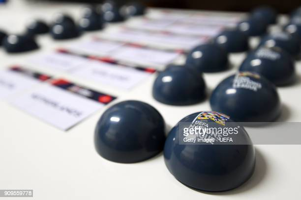 A general view of the draw balls ahead of the UEFA Nations League Draw on January 24 2018 in Lausanne Switzerland