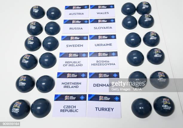 A general view of the draw balls and team names ahead of the UEFA Nations League Draw on January 24 2018 in Lausanne Switzerland