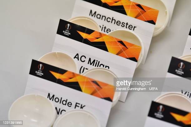 General view of the draw cards prior to the UEFA Europa League 2020/21 Round of 16 draw at the UEFA Headquarters, the House of European Football, on...