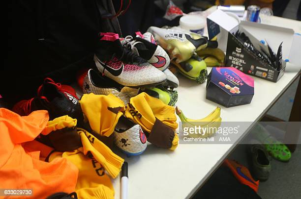 General view of the dressing room after the match as boots and food lie discarded after the Emirates FA Cup Fourth Round match between Sutton United...