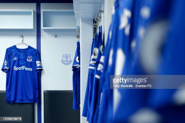 A general view of the dressing room at Goodison Park before the Premier League match between Everton FC and Manchester United at Goodison Park on...