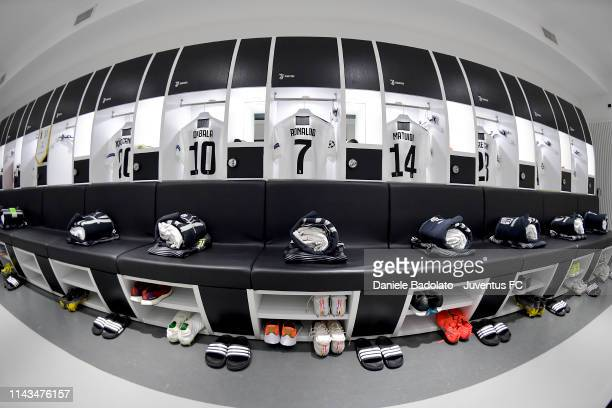 general view of the dressing room before the UEFA Champions League Quarter Final second leg match between Juventus and Ajax at Allianz Stadium on...