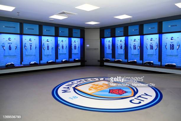 A general view of the dressing room before the Women's FA Community Shield Final match at Wembley Stadium on August 29 2020 in London England