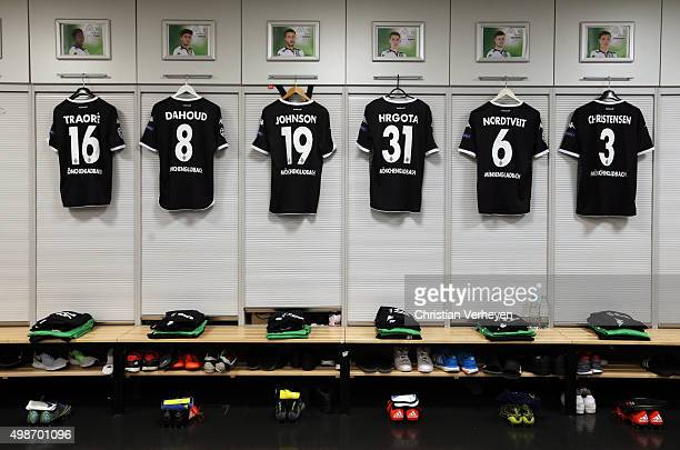 A general view of the dressing room of Borussia Moenchengladbach ahead the UEFA Champions League group stage match between Borussia Moenchengladbach...