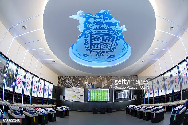 General View of the dressing room of FC Porto ahead of the UEFA Champions League match between FC Porto and Leicester City FC at Estadio do Dragao on...