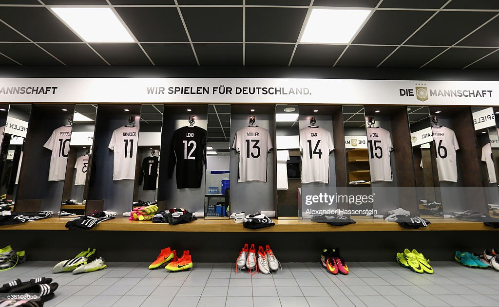 General view of the dressing room of team Germany is seen prior to the international friendly match between Germany and Hungary at Veltins-Arena on June 4, 2016 in Gelsenkirchen, Germany.
