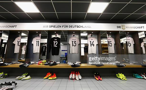 General view of the dressing room of team Germany is seen prior to the international friendly match between Germany and Hungary at Veltins-Arena on...