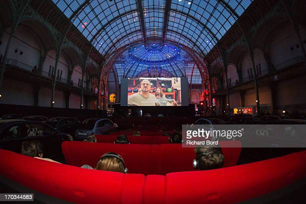 A general view of the drivein theatre during 'The Big Lebowski' screening at the Grand Palais on June 11 2013 in Paris France