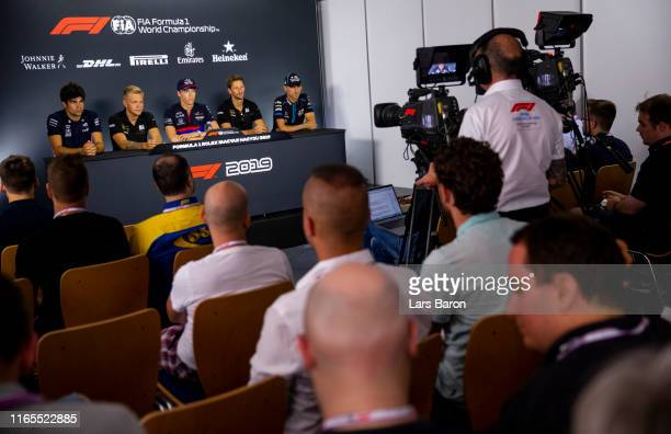 A general view of the Drivers Press Conference with Lance Stroll of Canada and Racing Point Kevin Magnussen of Denmark and Haas F1 Daniil Kvyat of...