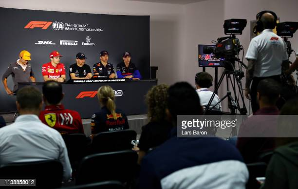 A general view of the Drivers Press Conference with Lando Norris of Great Britain and McLaren F1 Charles Leclerc of Monaco and Ferrari Valtteri...