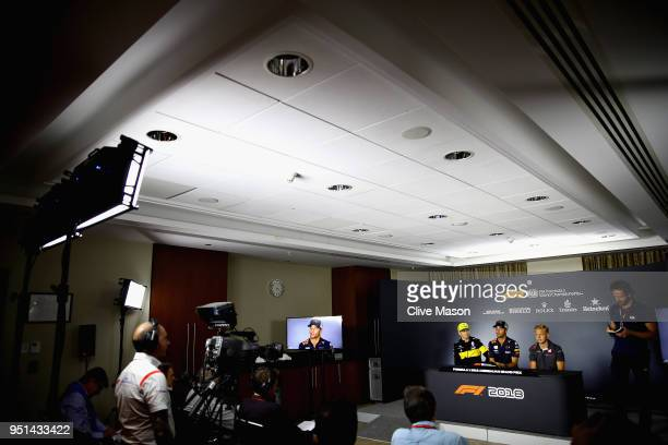 A general view of the Drivers Press Conference with Nico Hulkenberg of Germany and Renault Sport F1 Daniel Ricciardo of Australia and Red Bull Racing...