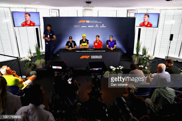 A general view of the Drivers Press Conference with Sergio Perez of Mexico and Force India Nico Hulkenberg of Germany and Renault Sport F1 Sebastian...