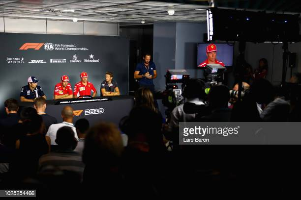 General view of the Drivers Press Conference with Sergio Perez of Mexico and Force India, Sebastian Vettel of Germany and Ferrari, Kimi Raikkonen of...