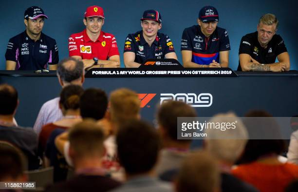 A general view of the Drivers Press Conference with Sergio Perez of Mexico and Racing Point Charles Leclerc of Monaco and Ferrari Max Verstappen of...