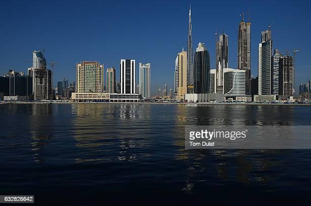General view of the Dubai Canal and Burj Khalifa during Dubai Water Canal Dragon Boat Festival on January 27 2017 in Dubai United Arab Emirates
