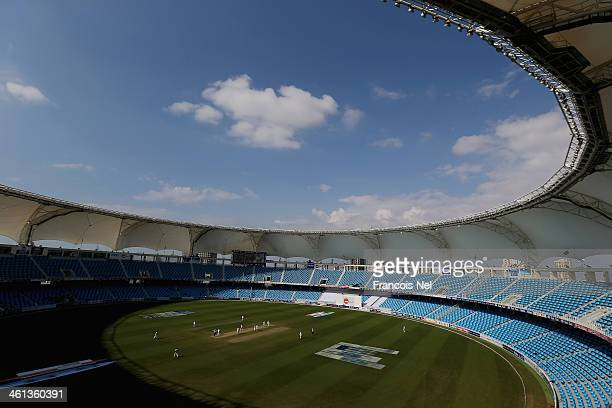 General view of the Dubai Sports City Cricket Stadium during the first day of the second Test match between Pakistan and Sri Lanka at the Dubai...