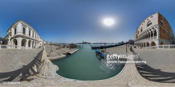 General view of the Ducale palace, the Ponte dei Sospiri and of the San Marco basin with San Giorgio island as lockdown continues due to the...