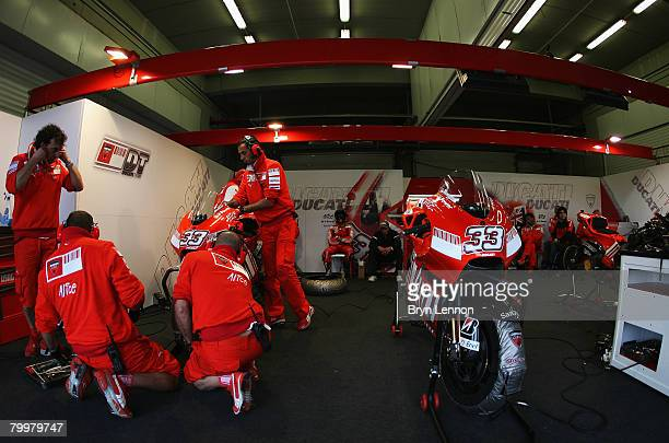 A general view of the Ducati MarlboroTeam garage during MotoGP Testing at the Circuito de Jerez on February 18 2008 in Jerez Spain