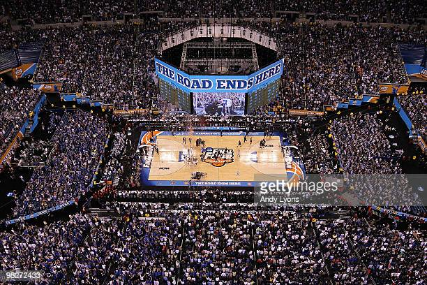 A general view of the Duke Blue Devils as they celebrate on court after they won 6149 against the Butler Bulldogs during the 2010 NCAA Division I...