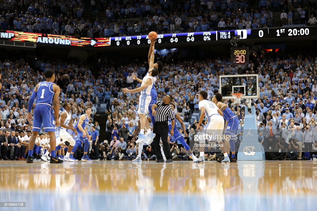 A general view of the Duke Blue Devils versus North Carolina Tar Heels during their game at Dean Smith Center on February 8, 2018 in Chapel Hill, North Carolina.