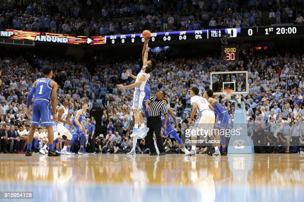 A general view of the Duke Blue Devils versus North Carolina Tar Heels during their game at Dean Smith Center on February 8 2018 in Chapel Hill North...