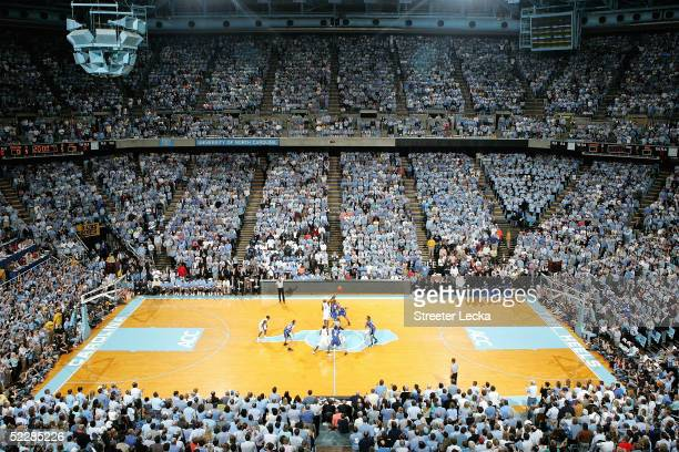 A general view of the Duke Blue Devils versus the North Carolina Tar Heels during tip off on March 6 2005 at the Dean E Smith Center in Chapel Hill...