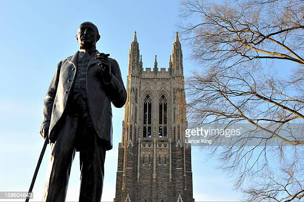 A general view of the Duke University Chapel and a statue of James Buchanan Duke on November 23 2012 in Durham North Carolina