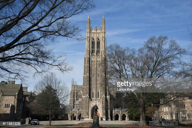General view of the Duke University Chapel on the campus of Duke University ahead of the game between the Virginia Cavaliers and the Duke Blue Devils...
