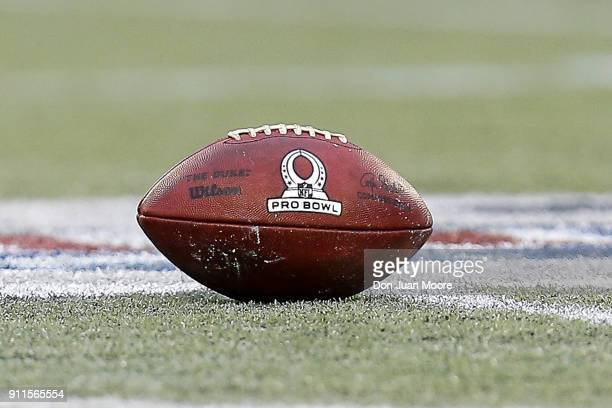 A general view of the 'Duke' Wilson Official NFL football at midfield with the Pro Bowl Logo on it during the game at Camping World Stadium on...